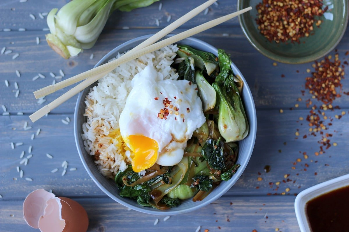 Braised Bok Choy Leek And Spinach Rice Bowl With Poached