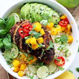 Crockpot Jerk Chicken Cauliflower Rice Bowls