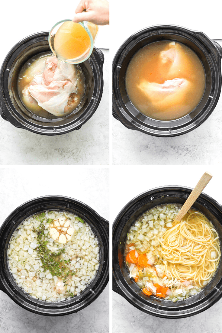 A set of four process shot showing how to make slow cooker chicken noodle soup.