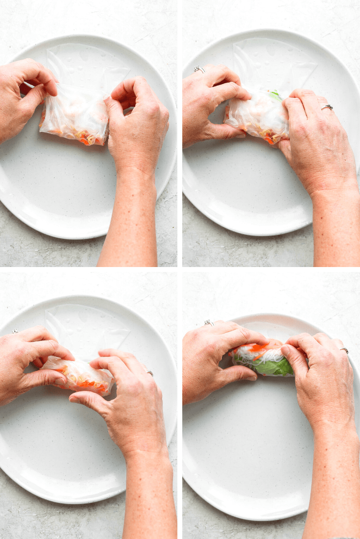 A collage of the last four steps of wrapping a shrimp spring roll.