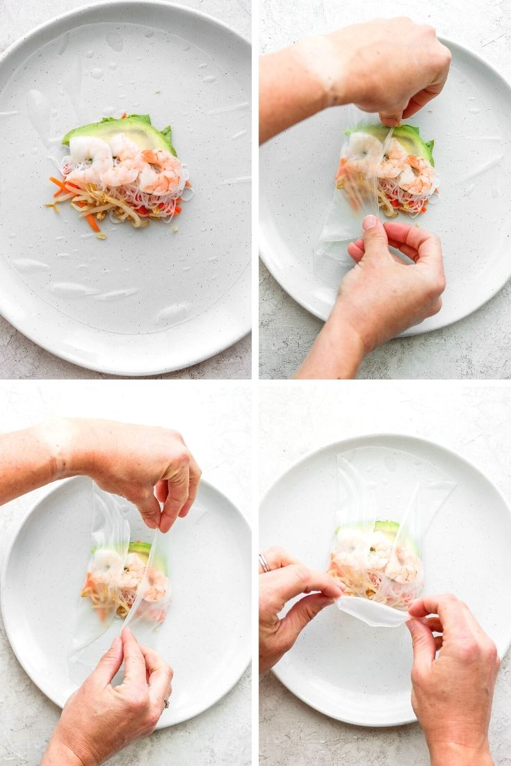 A collage of the first four steps of wrapping a shrimp spring roll.