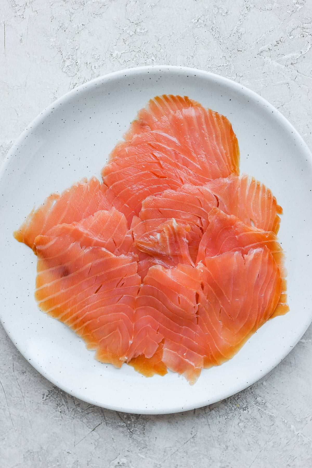 Plate of lox salmon.