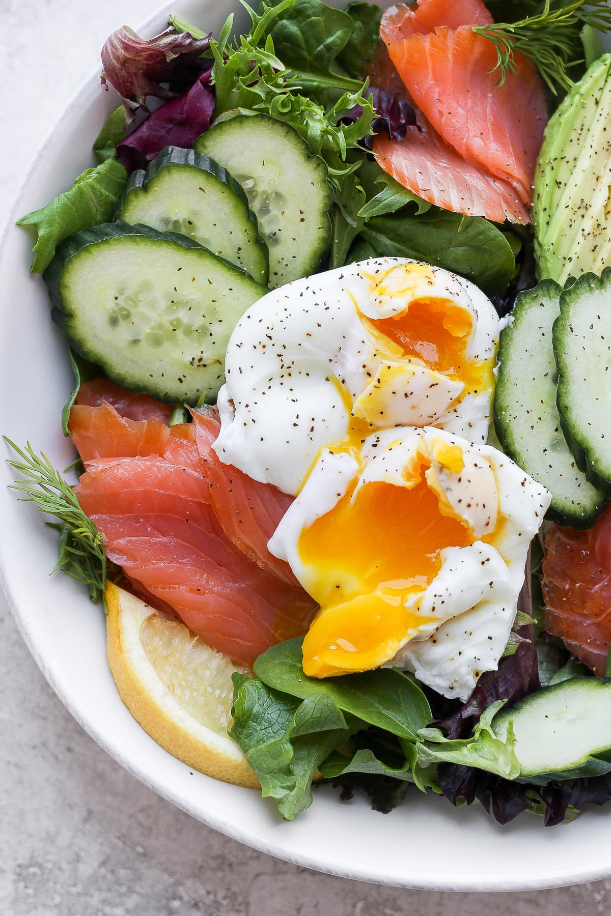 Bowl of smoked salmon salad.