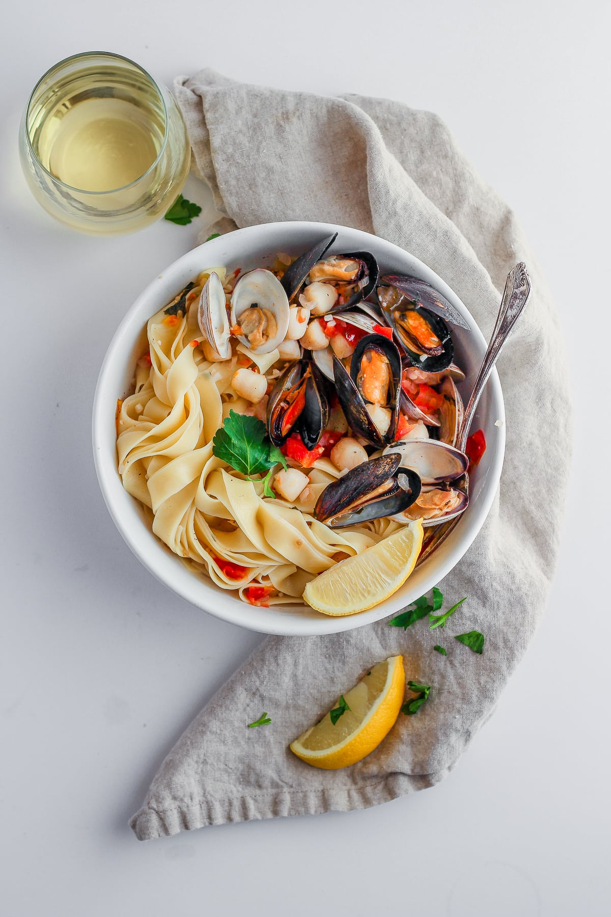 Fettuccine with Clams, Mussels and Bay Scallops