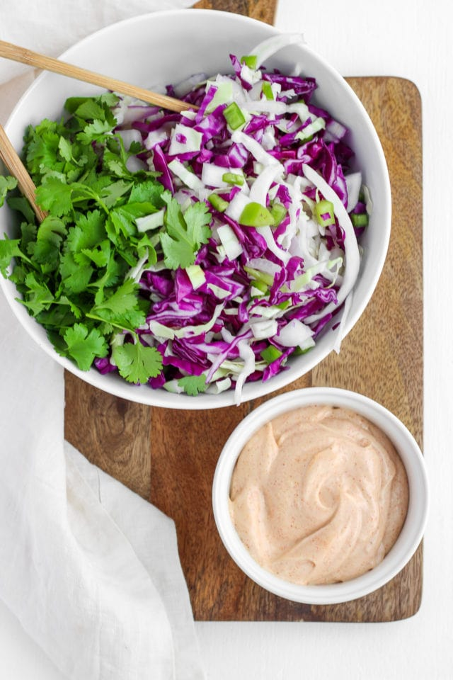 Creamy Purple Cabbage Coleslaw with Cilantro and Anaheim Peppers