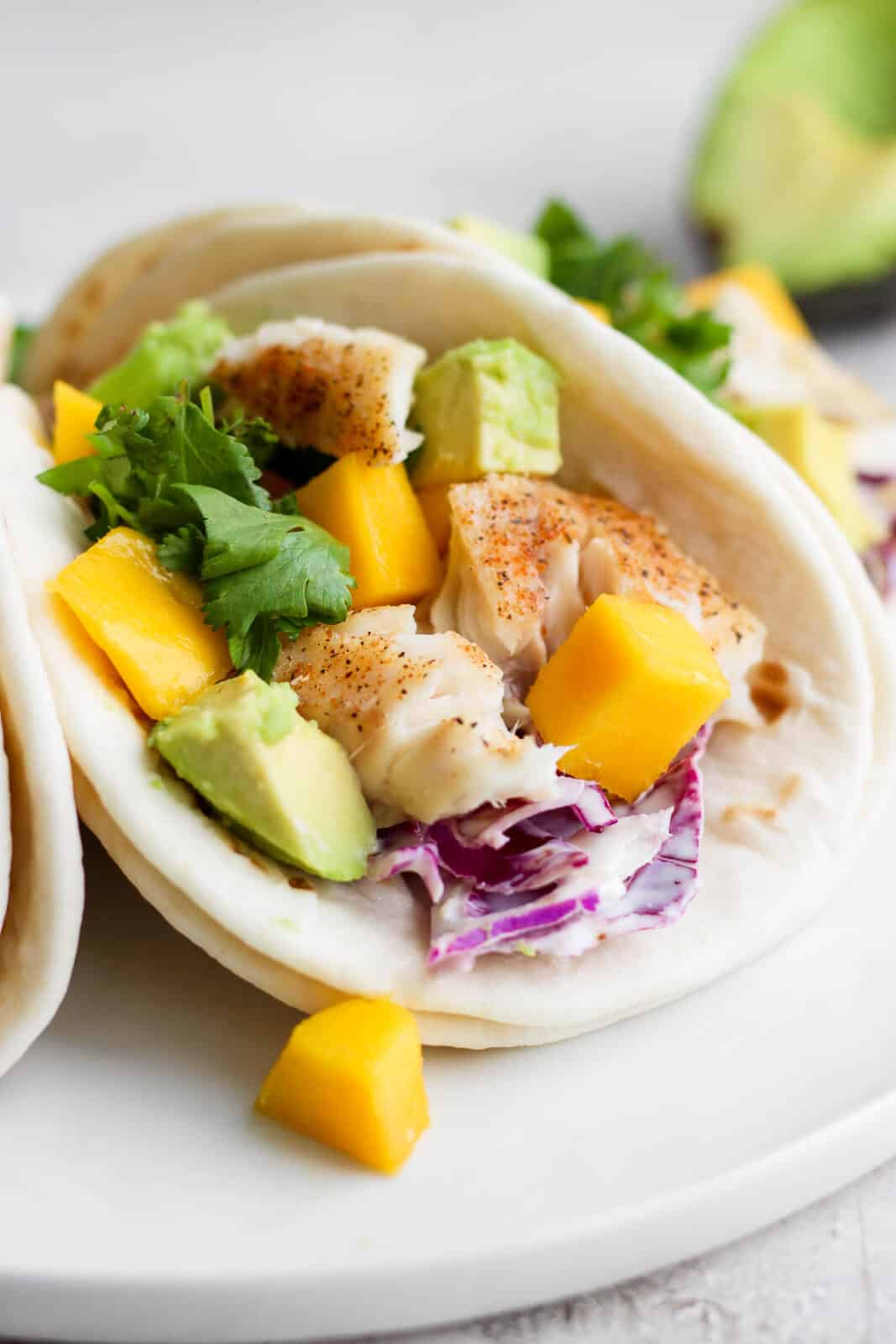 A tilapia fish taco on a plate with avocado and mango.