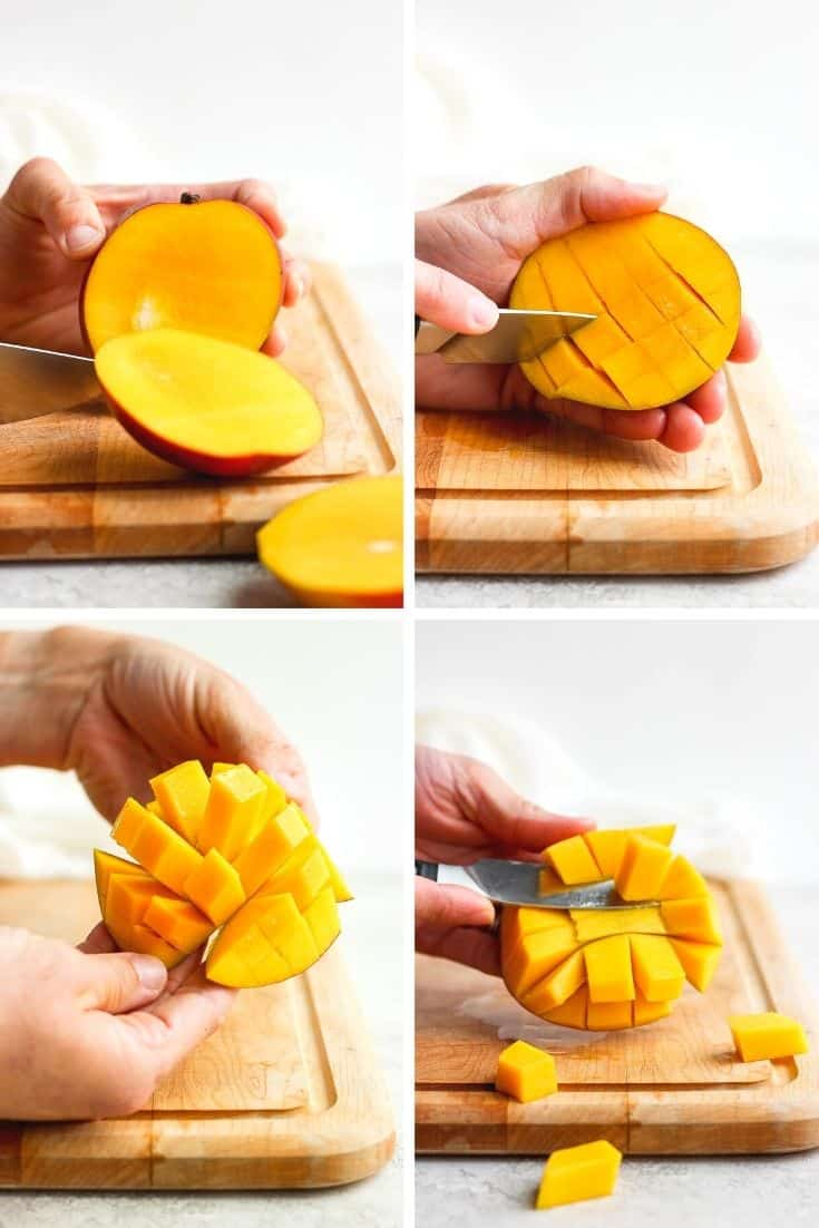Four photos together showing the four steps of cutting a mango.
