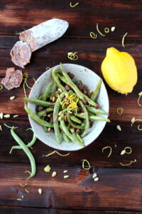 Green Beans with Spanish Chorizo, Pine Nuts and Lemon Zest - thewoodenskillet.com #sidedish