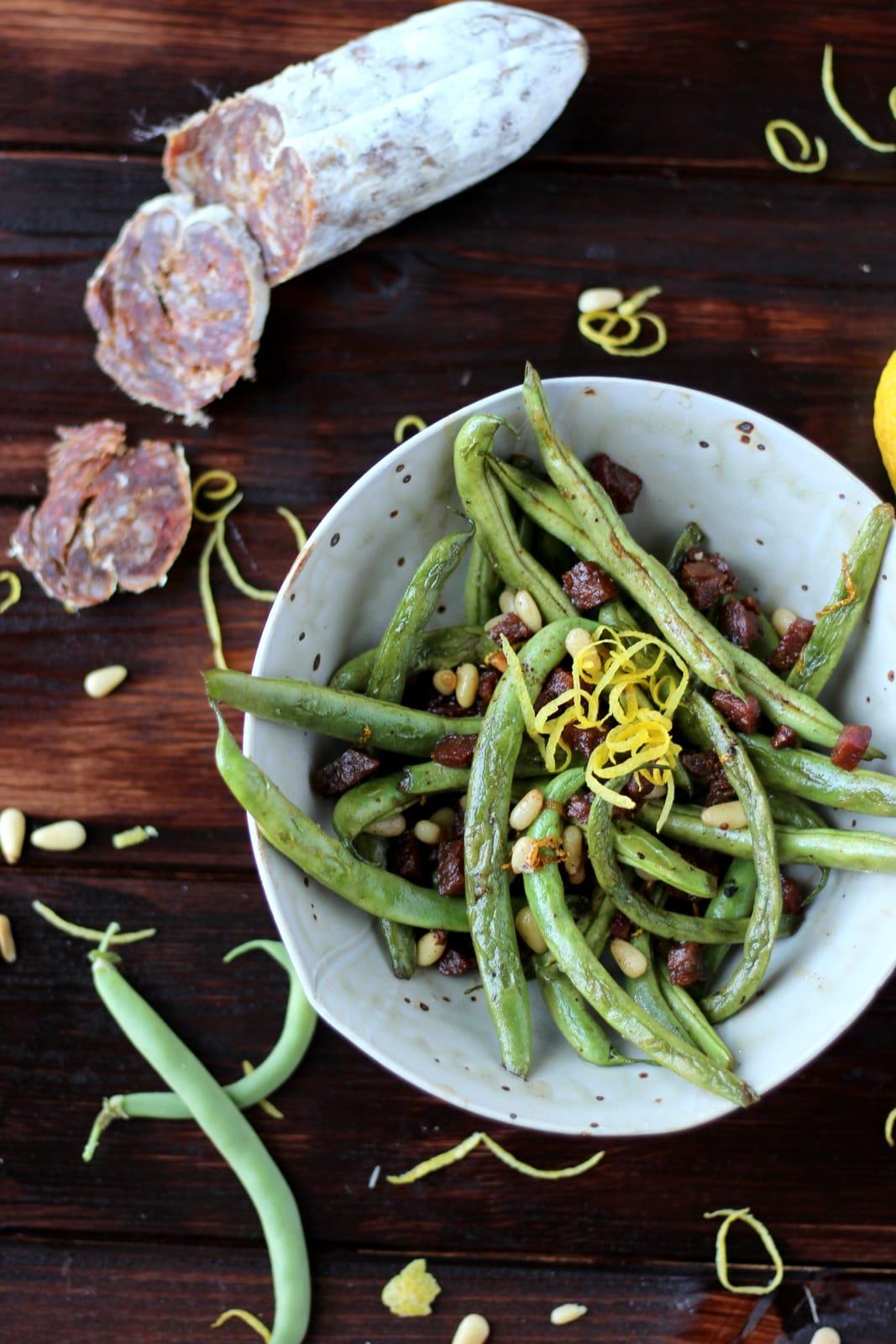 Blackened Green Beans with Chorizo, Pine Nuts and Fresh Lemon Zest - thewoodenskillet.com #sidedish #healthy