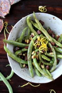 Green Beans with Spanish Chorizo, Pine Nuts and Lemon Zest - thewoodenskillet.com #sidedish
