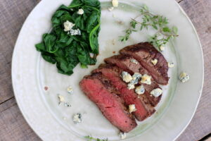 Pan-Fried Filet Mignon with Butter, Thyme and Blue Cheese