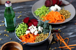 Raw Kale Summer Salad with Beets, Carrots, Edamame, Pumpkin Seeds and Goat Cheese with Honey Vinaigrette - thewoodenskillet.com