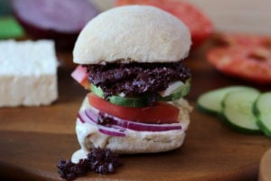 Greek Salad Sandwich with Kalamata Olive Tapenade and Greek Aioli - The Wooden Skillet thewoodenskillet.com #sandwich