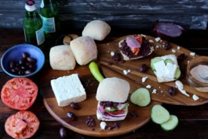 Greek Salad Sandwich with Kalamata Olive Tapenade and Greek Aioli - The Wooden Skillet thewoodenskillet.com #meatless