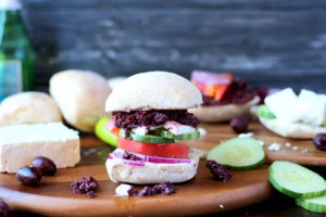 Greek Salad Sandwich with Kalamata Olive Tapenade and Greek Aioli - thewoodenskillet.com
