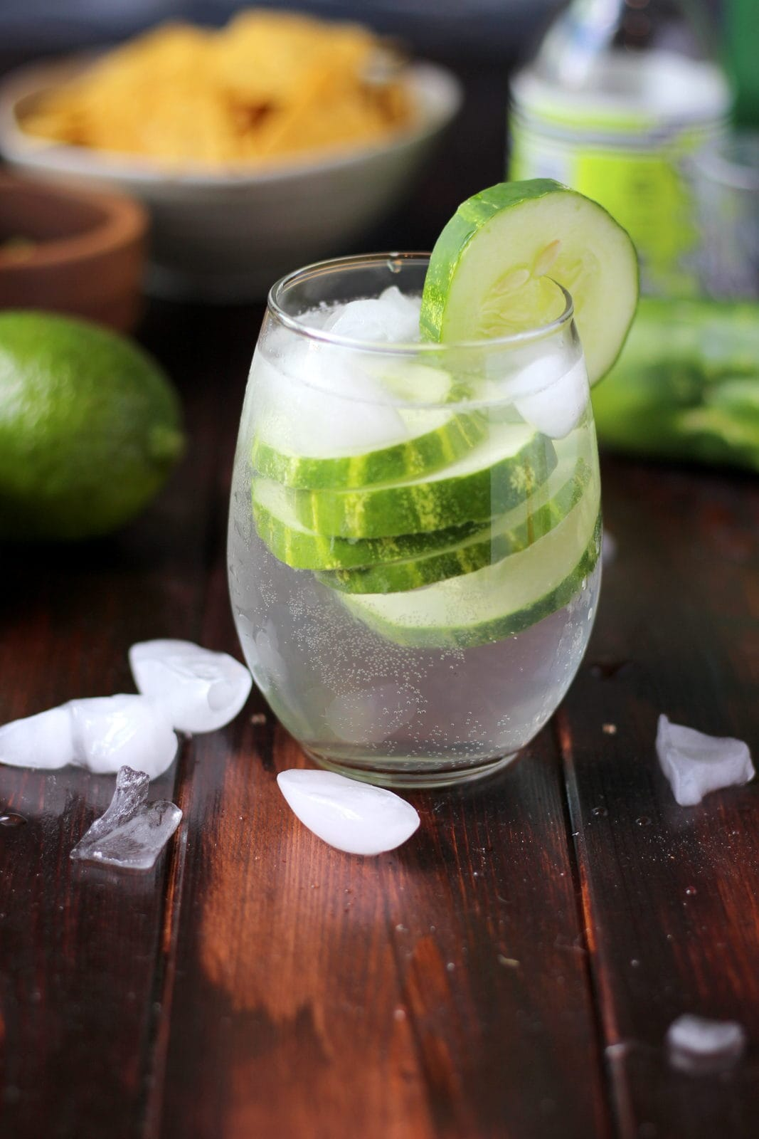 Cucumber Vodka Water with Soda - thewoodenskillet.com #cocktail #foodphotography