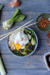 Vegetarian Rice Bowl with Bok Choy, Leeks and Spinach with Poached Egg - thewoodenskillet.com
