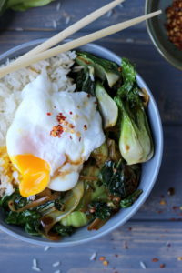 Vegetarian Rice Bowl with Braised Bok Choy, Leeks and Spinach - thewoodenskillet.com
