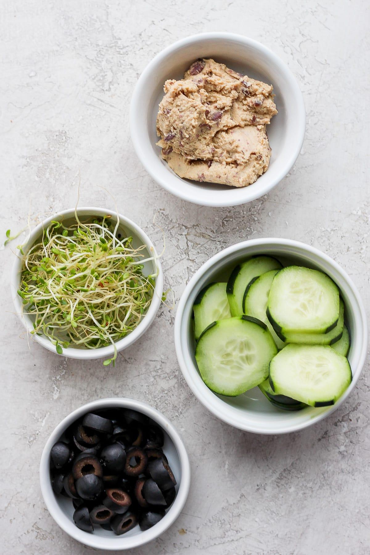 Ingredients for vegan pita sandwiches.