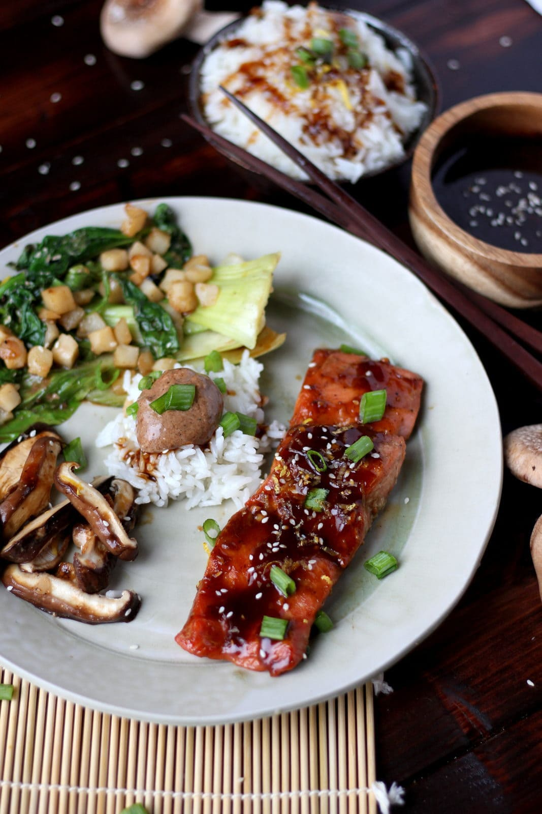 Miso Salmon in Foil with Shiitake Mushrooms, Baby Bok Choy, Spinach, Water Chestnuts and Miso Mayo over Rice - thewoodenskillet.com