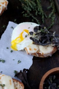 Creamy Leeks and Black Trumpet Mushrooms on Toast is an awesome appetizer, small plate or breakfast recipe! Simple food and clean eating at its best! thewoodenskillet.com