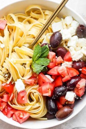 Bowl of warm greek pasta.