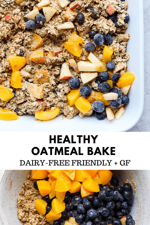 Healthy Oatmeal Bake - this is the perfect recipe for when you are serving a crowd OR for some weekend meal-prep! It reheats perfectly and is always a hit! This is a recipe you are going to want to save! #healthyoatmealbake #oatmealbake #bakedoatmeal #healthybakedoatmeal #healthybreakfast #oatmeal #glutenfreerecipes