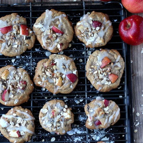 Sweet Glazed Apple Cookies with Oats and Walnuts. A great recipe for all of your fall apples! thewoodenskillet.com #foodphotography #foodstyling