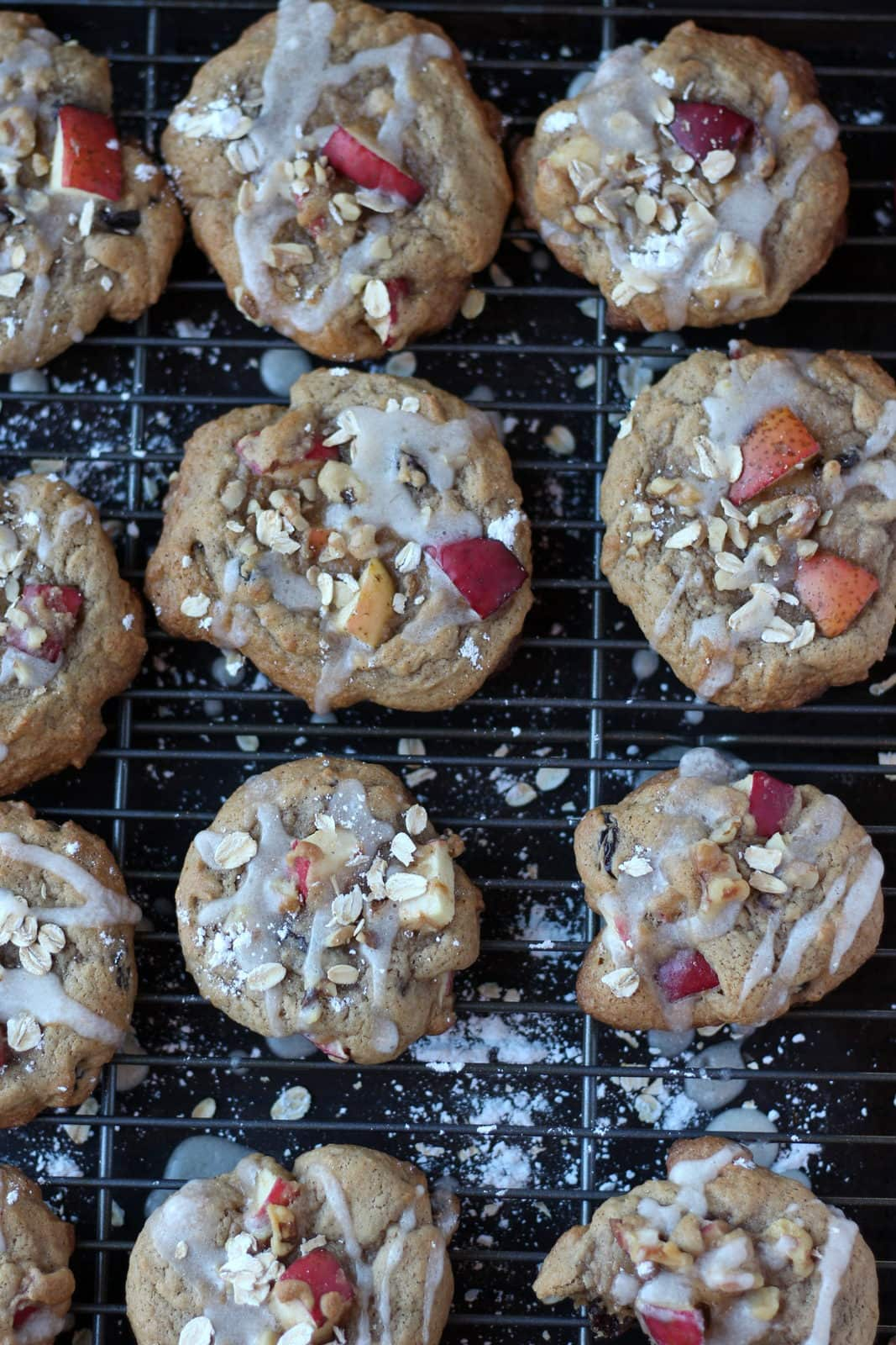Sweet Glazed Apple Cookies with Oats and Walnuts. The perfect recipe for fall! thewoodenskillet.com