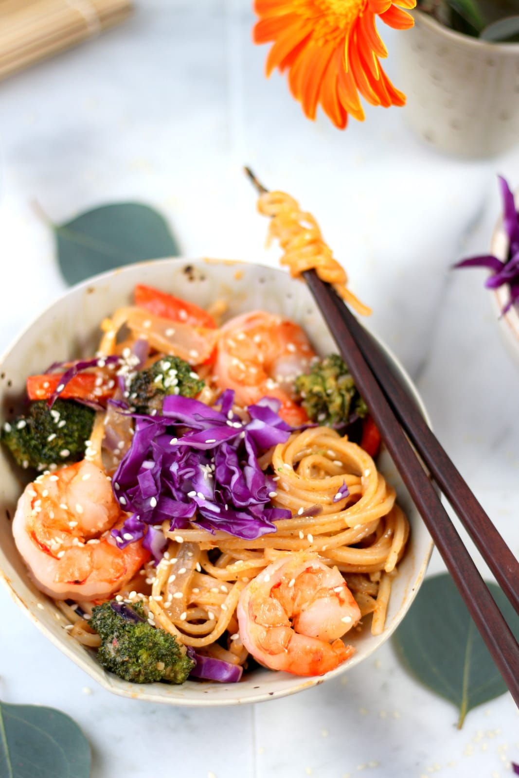 Sweet Curry Noodles + Shrimp and Roasted Vegetables - amazing Bangkok Curry recipe! thewoodenskillet.com #foodphotography #foodstyling