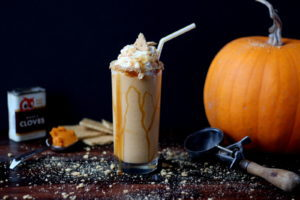 Indulgent Pumpkin Pie Malt - tastes just like pumpkin pie and a great fall and Thanksgiving dessert recipe! thewoodenskillet.com #foodphotography #foodstyling