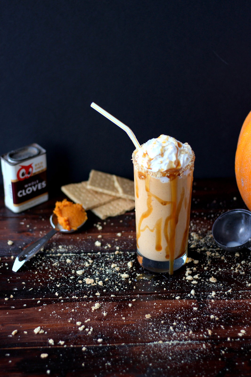Indulgent Pumpkin Pie Malt - tastes just like pumpkin pie and a great fall and Thanksgiving dessert recipe! thewoodenskillet.com #foodphotography #foodstyling