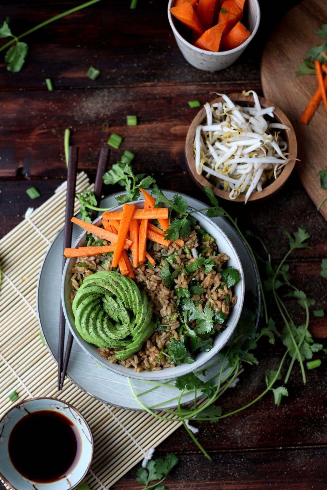 Cilantro Fried Rice + Avocado and Poached Egg - awesome vegetarian rice bowl recipe! thewoodenskillet.com #recipe