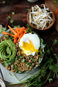 Cilantro Fried Rice Bowl + Avocado and Poached Egg. Awesome vegetarian recipe! thewoodenskillet.com #foodphotography #foodstyling