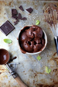 The best recipe for dark chocolate sorbet with coffee and kosher salt. Adapted from David Lebovitz. A fantastic dessert recipe! thewoodenskillet.com #foodphotography #food styling