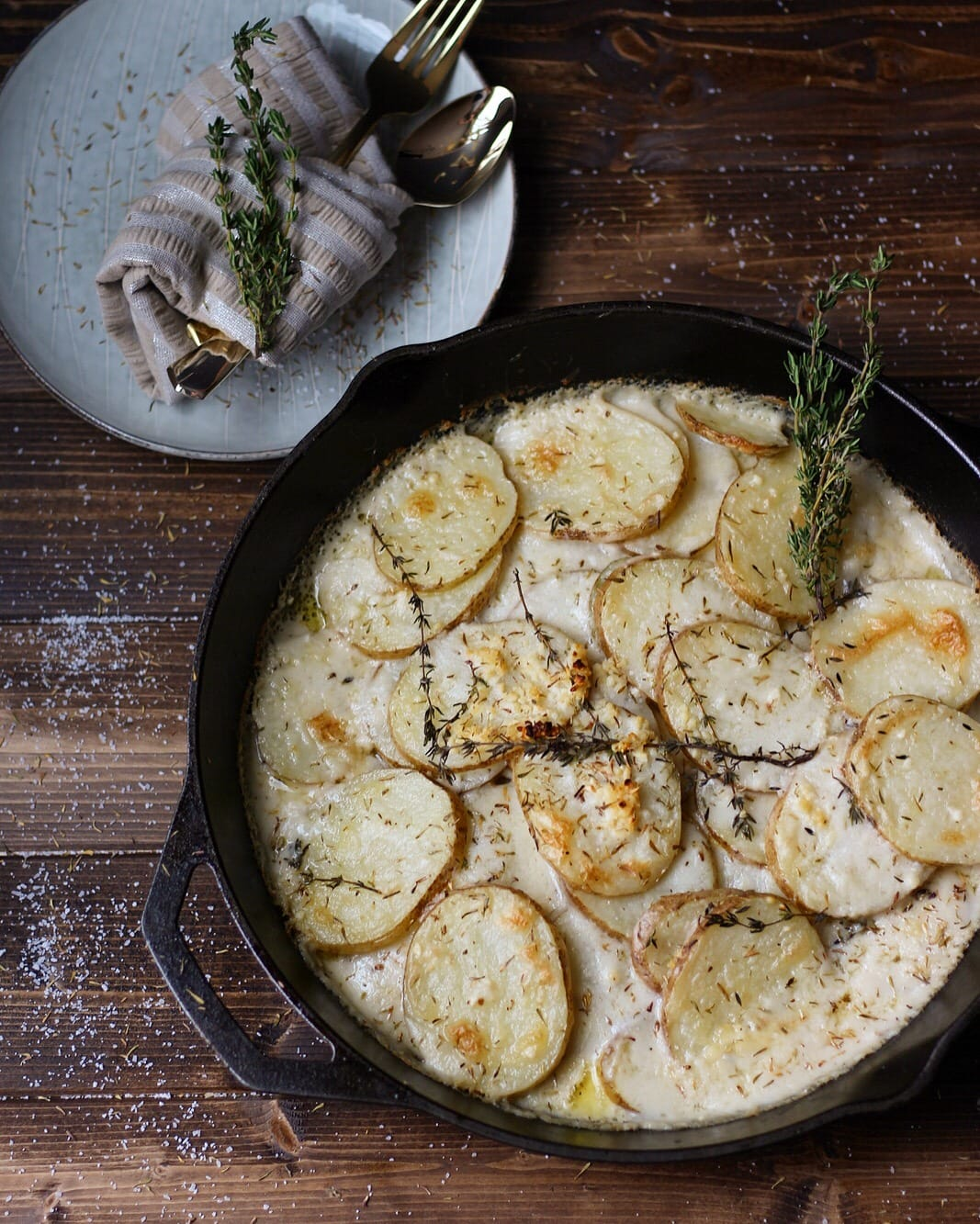 Goat Cheese Potatoes Au Gratin + Browned Butter and Fresh Thyme - thewoodenskillet.com