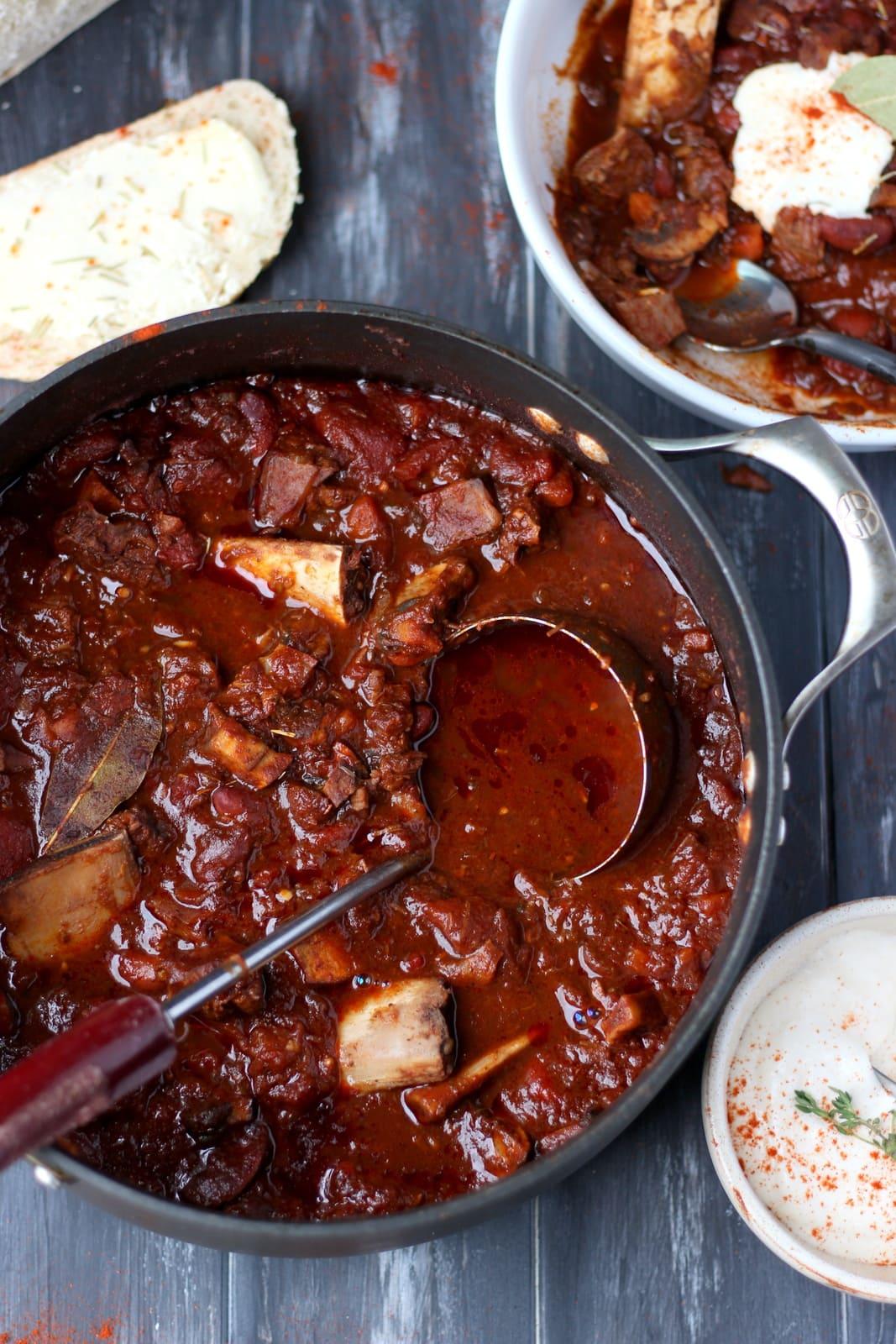 Braised Beef Shortrib Chili + Horseradish Sour Cream
