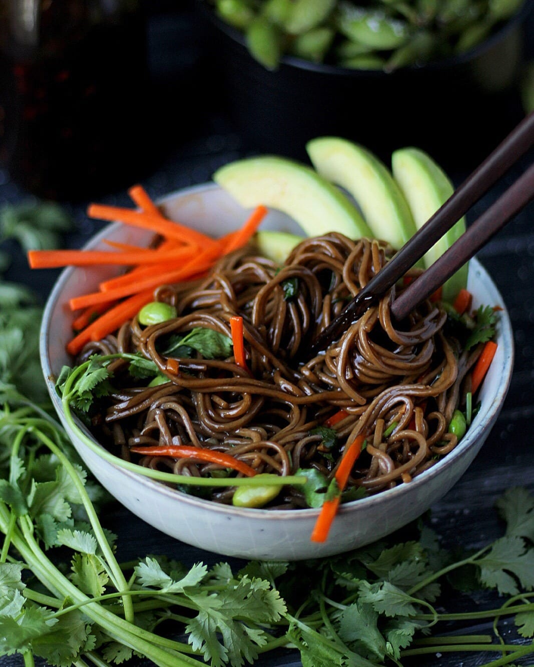 Soy Ginger Soba Noodles + Avocado and Edamame. Perfect noodle bowl for lunch or dinner! thewoodenskillet.com #foodphotography #foodstyling