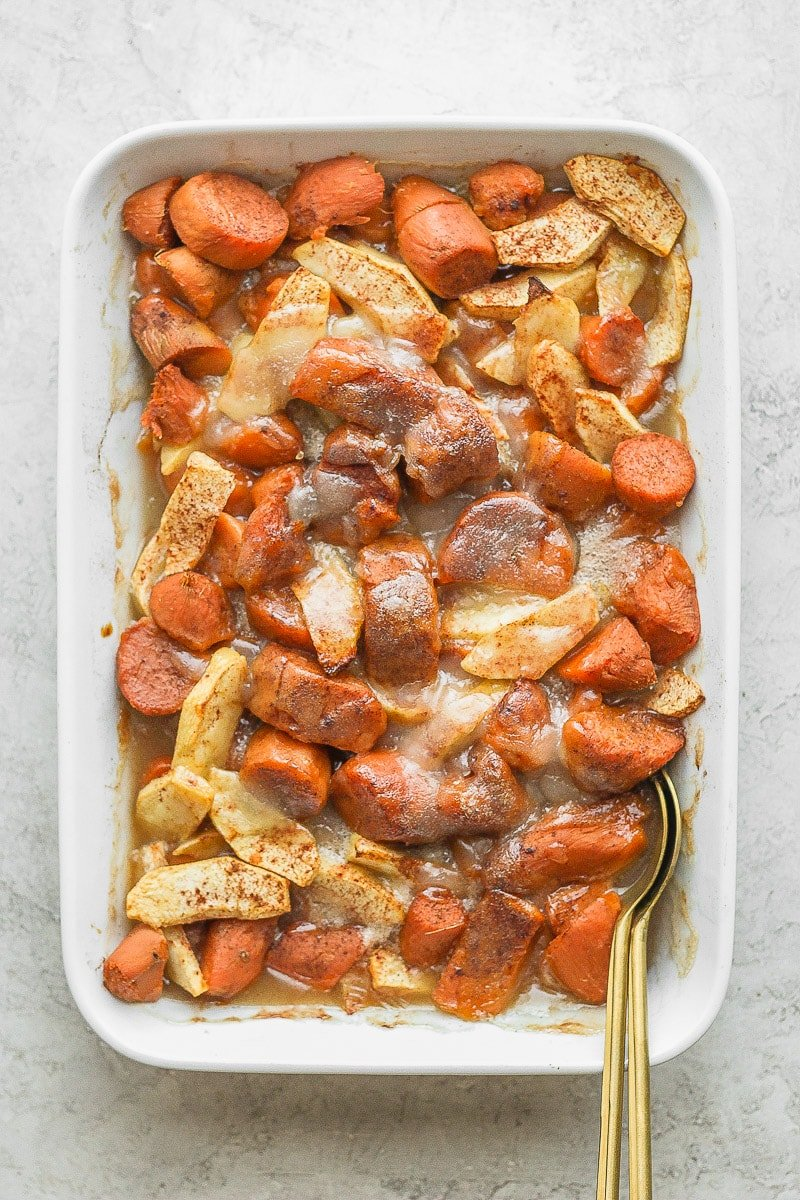 Casserole dish filled with apple yam bake.