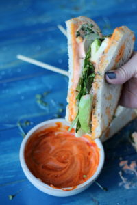Healthy Avocado and Cheese Sandwich on Sourdough + Spicy Siracha Mayo - thewoodenskillet.com #vegetarian
