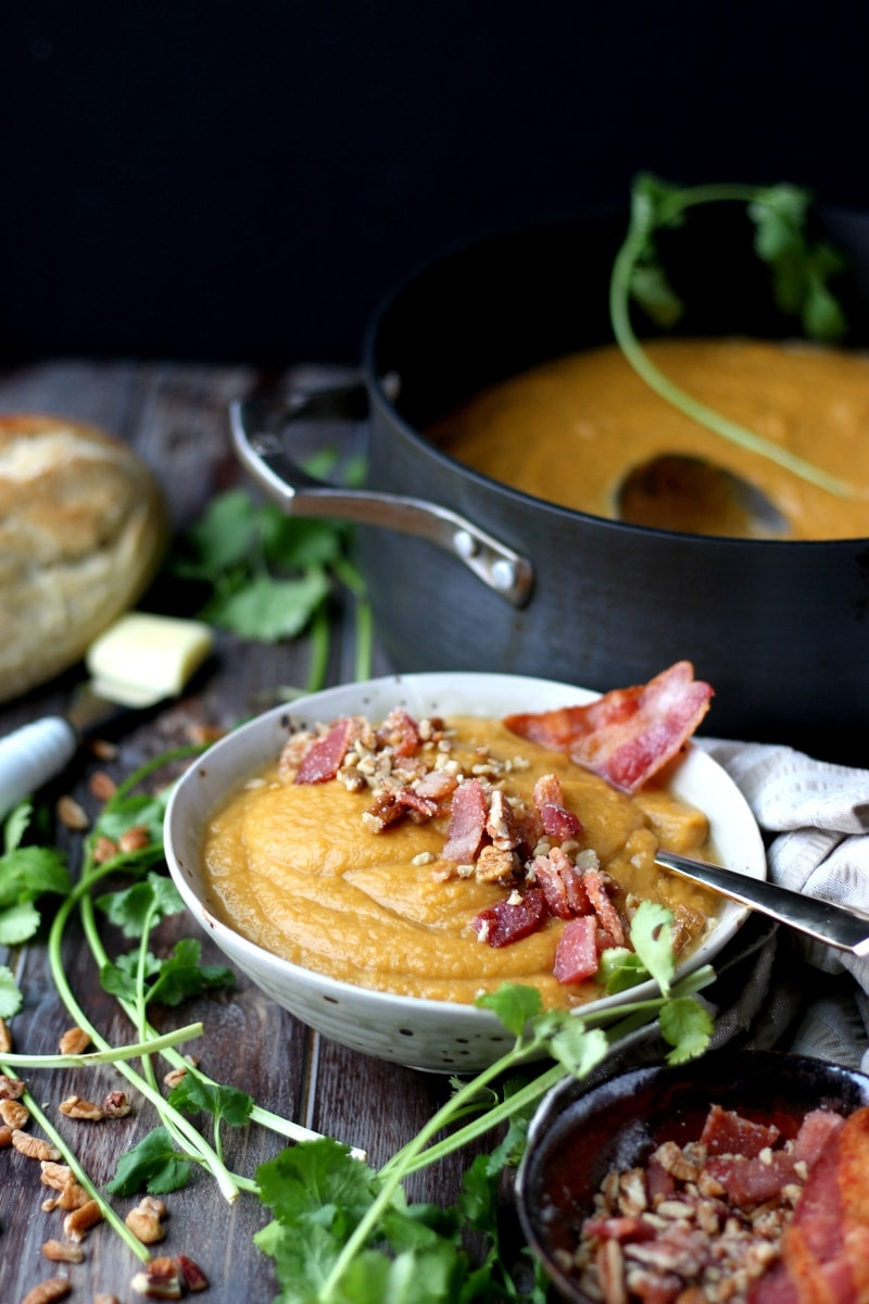Creamy Winter Soup + Candied Pecans and Bacon. thewoodenskillet.com