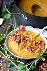 Creamy Winter Soup + Candied Pecans and Bacon. thewoodenskillet.com #soup
