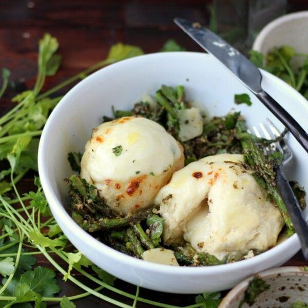 Cheese-Stuffed Dumplings + Pesto and Roasted Asparagus - thewoodenskillet.com