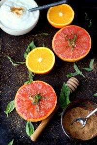 Carmalized Grapefruit + Basil and Honey - thewoodenskillet.com