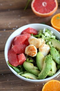 Seared Scallop Salad + Grapefruit and Avocado. thewoodenskillet.com