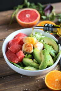 Seared Scallop Salad + Grapefruit and Avocado. A healthy, quick and easy salad! thewoodenskillet.com #foodphotography