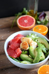 Seared Scallop Salad + Grapefruit and Avocado. A clean healthy meal that is ready in minutes! thewoodenskillet.com