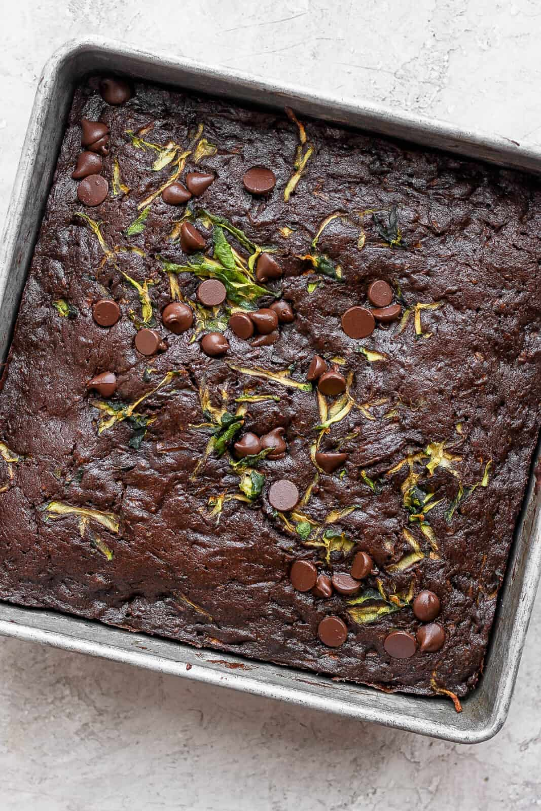 Zucchini brownies just out of the oven.