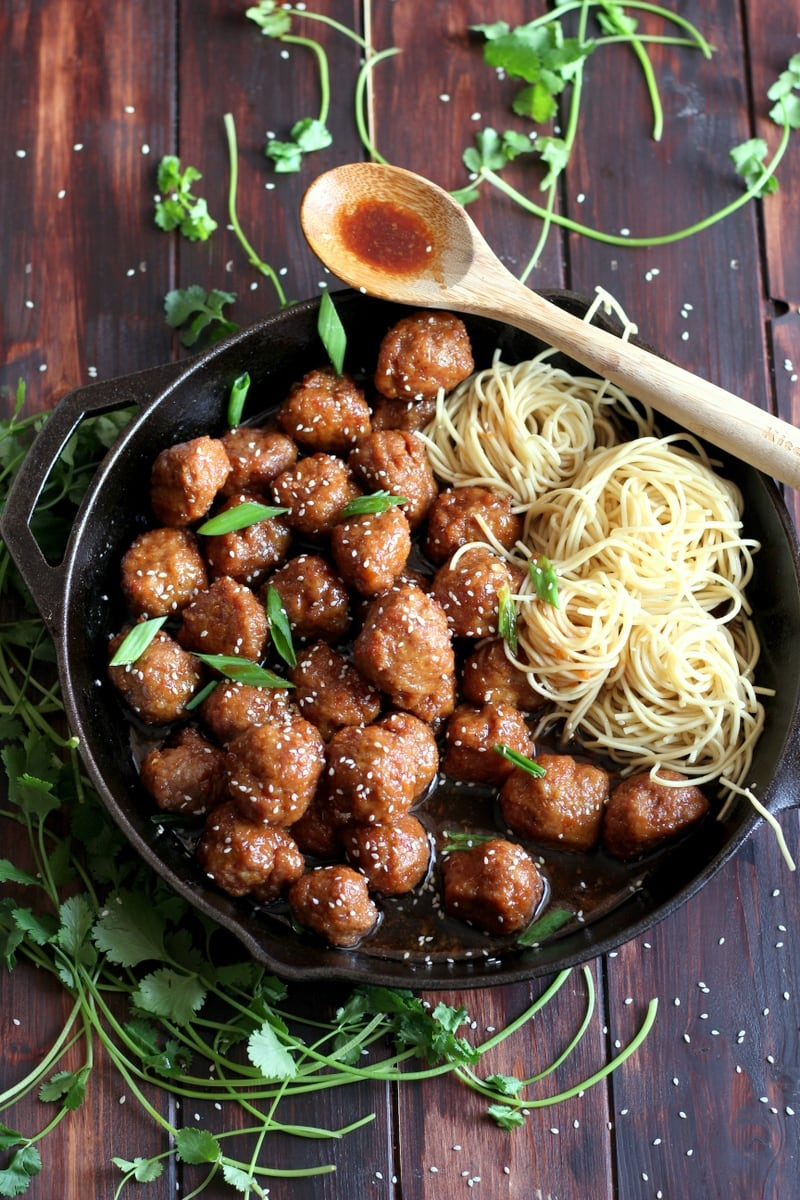 Sesame Soy Ginger Meatballs + Noodles
