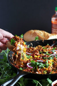 Braised Barbecue Chicken Pizza Dip - the perfect appetizer for game day! thewoodenskillet.com